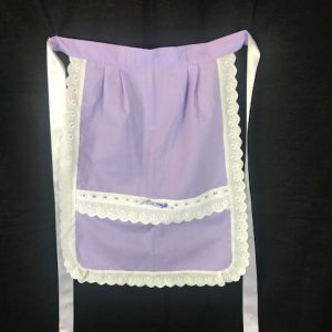 Delantal para huertana lila adulta con puntillas blancas