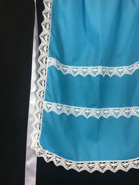 Delantal huertana azul para señora con puntillas blancas