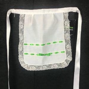 Delantal de huertana para niña con cintas en verde