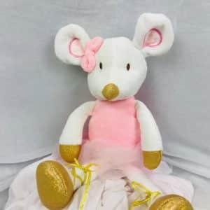 Peluche ballet ratoncito vestido de ballet en rosa y con zapatillas de ballet doradas