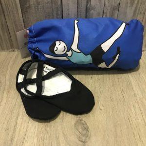 Bolsa para zapatillas ballet niño en color azulon y serigrafia de ballet de El Pettit Ballet