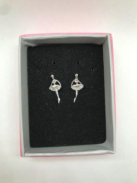 Pendientes bailarina de ballet en acero con brillitos en su falda