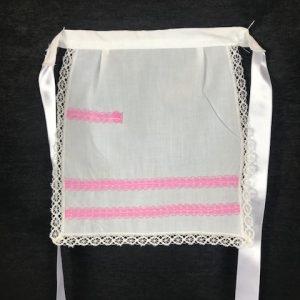 Delantal para huertana niña en blanco con toques rosa para tu traje regional
