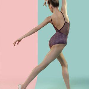 Maillot ballet mujer Davedans en color granate/berenjena y estampado