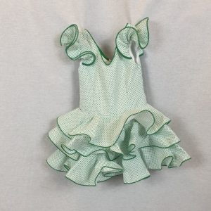 Traje de flamenca niña verde con lunares chiquititos