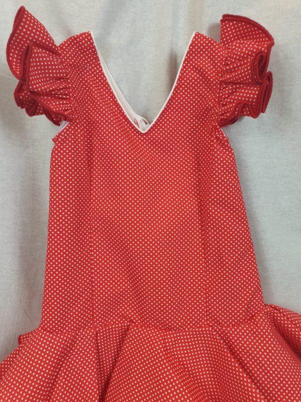 Traje de flamenca niña en rojo con lunatres pequeños blancos
