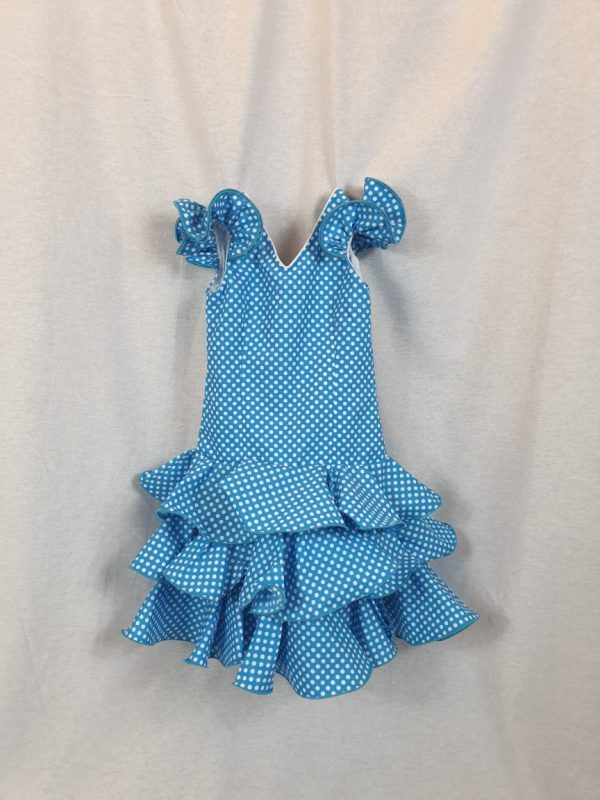 Traje de flamenca para niña con lunares pequeños