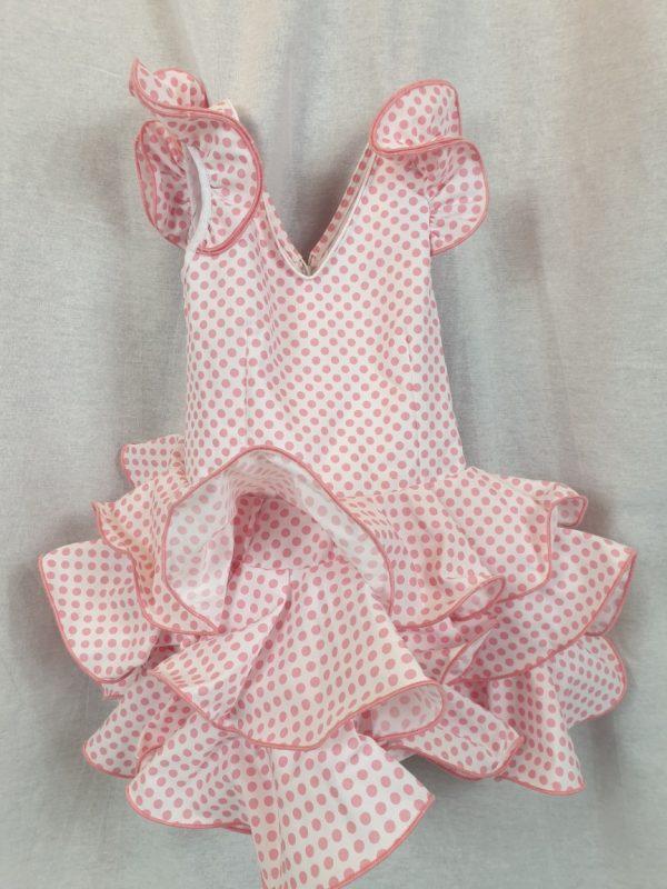 Vestido flamenca niña con lunares rosa palo