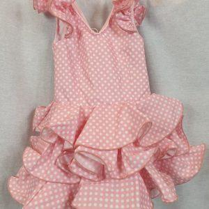 Traje de flamenca niña en rosa con lunares