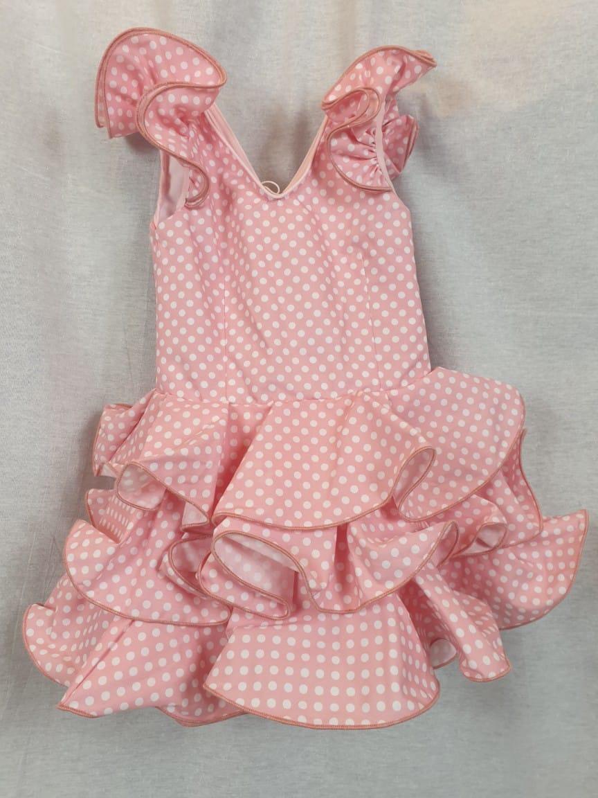 Traje de flamenca niña en rosa 306