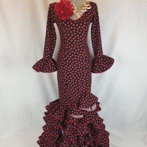Precioso traje de flamenca lunares rojos en streck