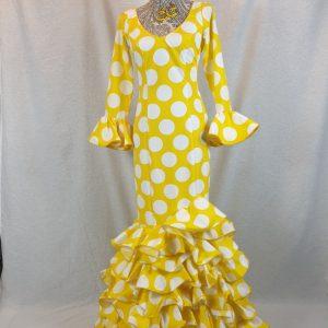 Traje de flamenca amarillo lunares grandes