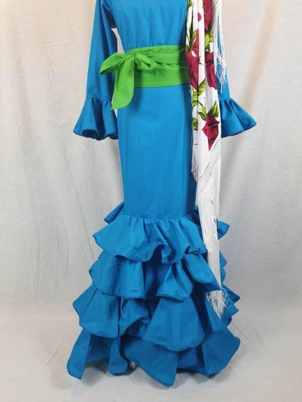 Traje de flamenca turquesa confeccionado en algodón