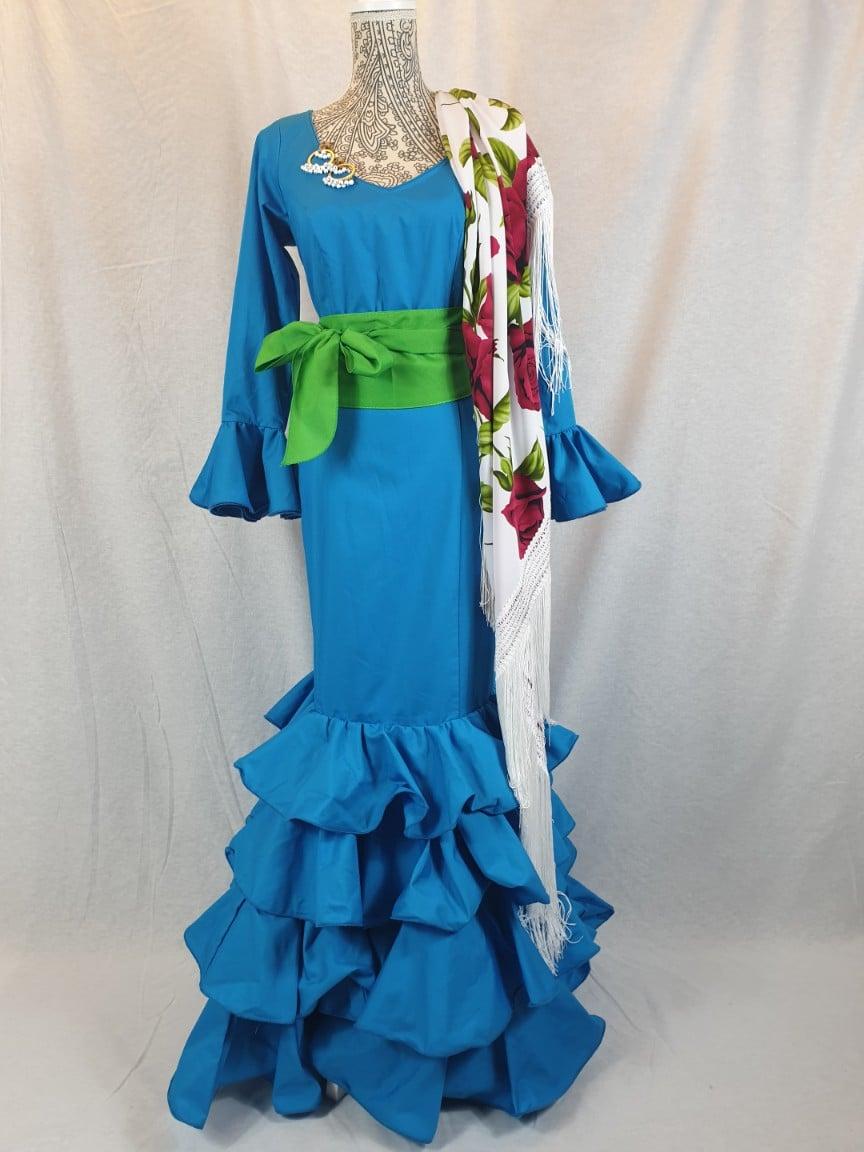 Traje de flamenca turquesa popelin 329
