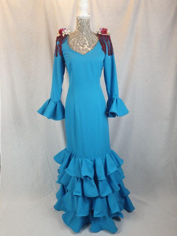 Traje de flamenca cuatro volantes en la falda color turquesa