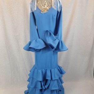 Traje flamenca turquesa confeccionado en streck