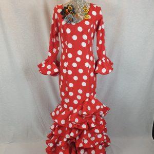 Vestido de flamenca seis volantes en color rojo y lunares blancos precioso!!!
