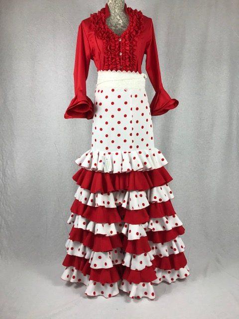 Falda flamenca elástica lunares en rojo y blanco