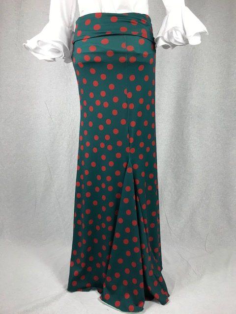 Falda flamenca ansayo lunar de color anaranjado