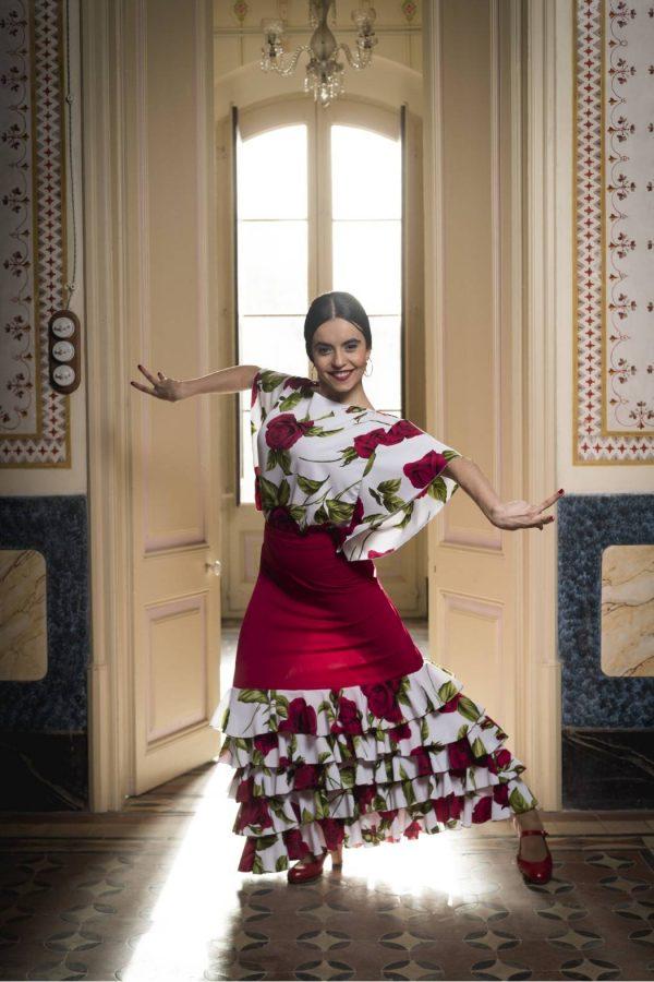 Falda flamenca roja con volantes de flores
