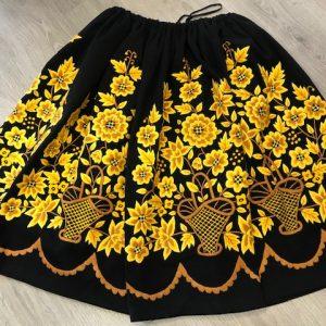 Refajo bordado a mano señora amarillo y negro