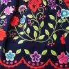 Refajo bordado señora primaveras en color azul y flores de colores