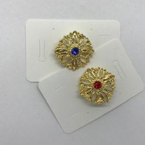 Broche de huertana para niña dorado con piedra de color