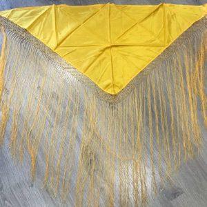 Pico huertana señora amarillo con flecos largos hechos a mano