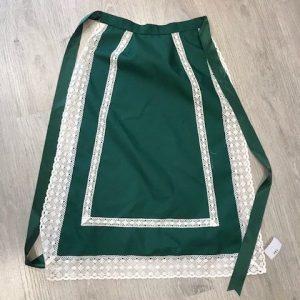 Delantal verde huertana para señora con putillas blancas