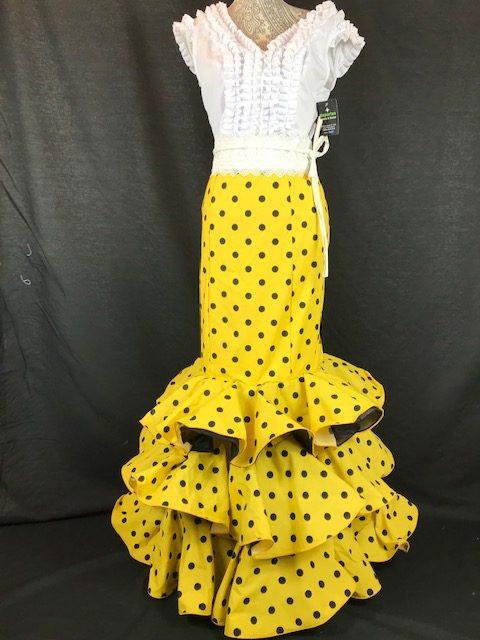 Falda flamenca amarilla con lunares pequeños en negro