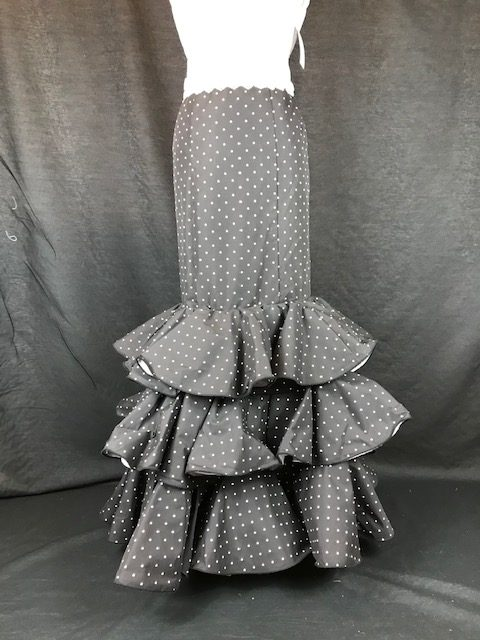 Falda flamenca negra lunar pequeño en blanco con tres volantes