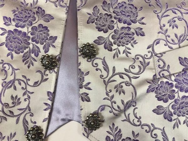 Chaleco huertano plata lila brocado precioso!!!!!