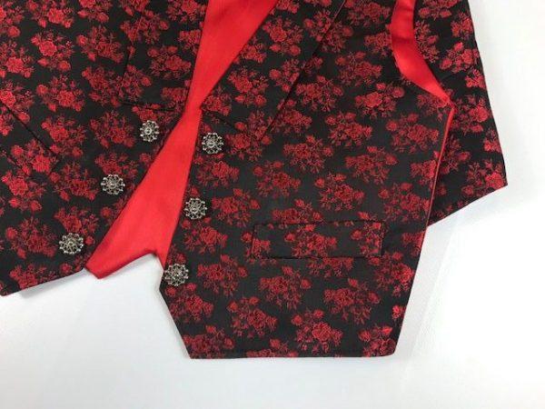 Chaleco para huertano rojo y negro brocado