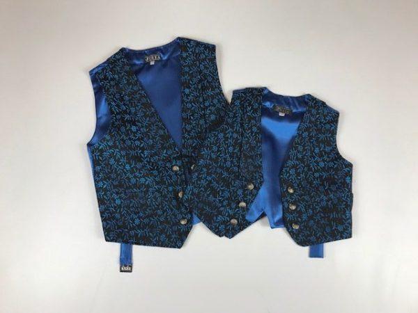 Chaleco para huertano azul y negro con flores pequeñas