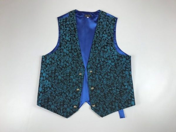 Chaleco para huertano azul brocado con flores