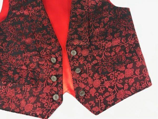 Chaleco para huertano rojo brocado combinado con negro