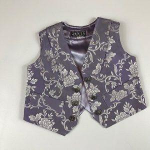 Chaleco para huertano lila con brocado y bolsillos
