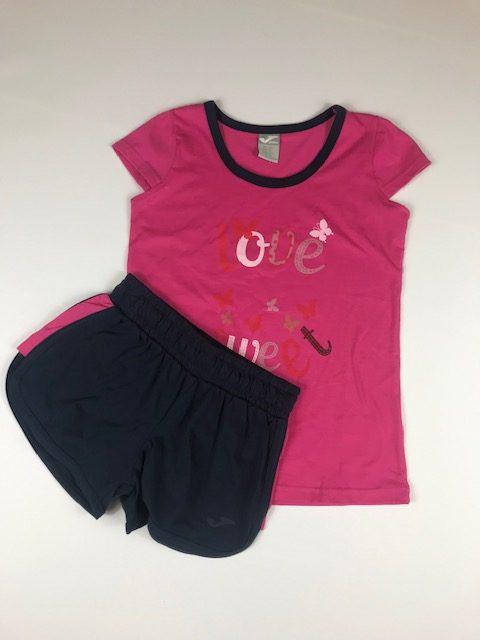 Conjunto deportivo niña rosa compuesto por pantalon y camiseta de verano