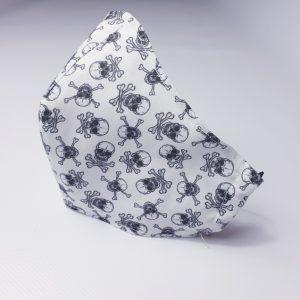 Mascarillas de calaveras confeccionada en tela con abertura para colocar filtro