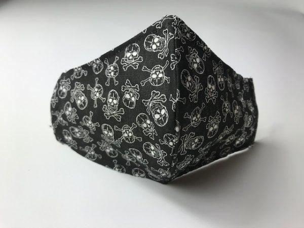 Mascarilla negra calaveras lavables y reutilizables con filtro desechable