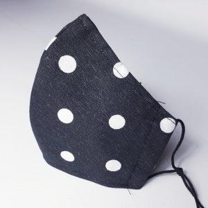 Mascarilla de tela lunares para adulto con elásticos y filtro incluido