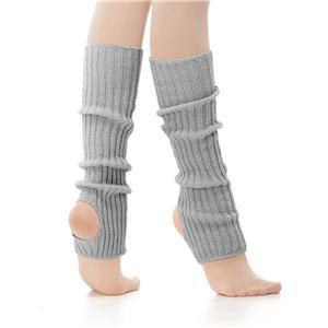 Calentador ballet gris para niña con talón descubierto de lana acrilica