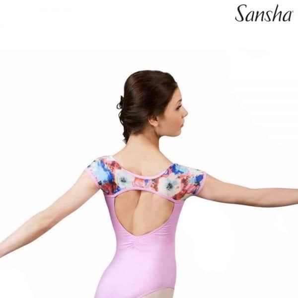 Maillot ballet Sansha Accalia para niña y mujer en color rosa y tranparencias
