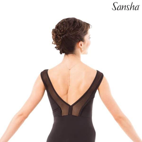 Maillot para baile en color negro con red en los hombros