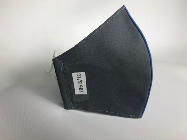 Mascarilla gris con lazo para uniforme escolar y tejidos certificados UNE-065
