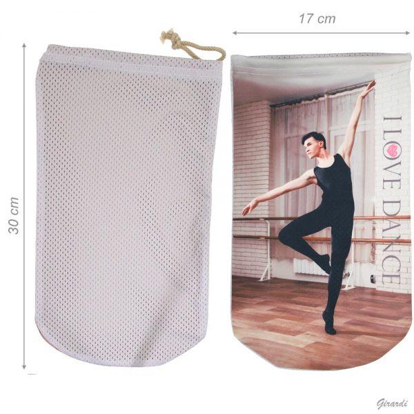 Bolsa zapatillas de ballet serigrafiada con bailarin
