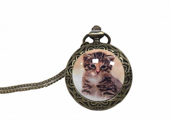 Colgante esfera reloj gato
