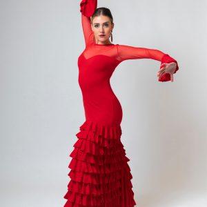 Vestido para flamenca rojo elástico