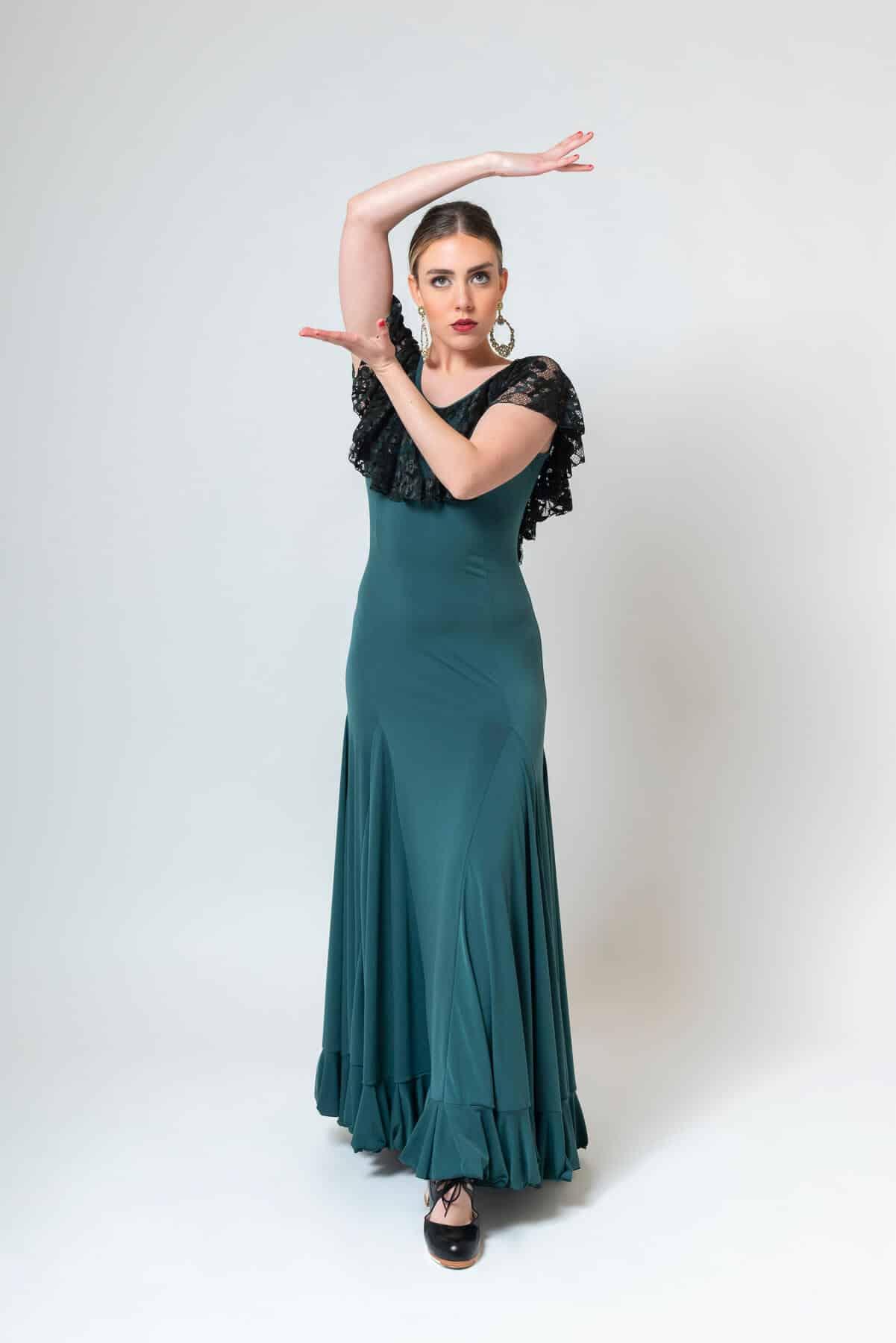 Vestido flamenca verde oliva 4298