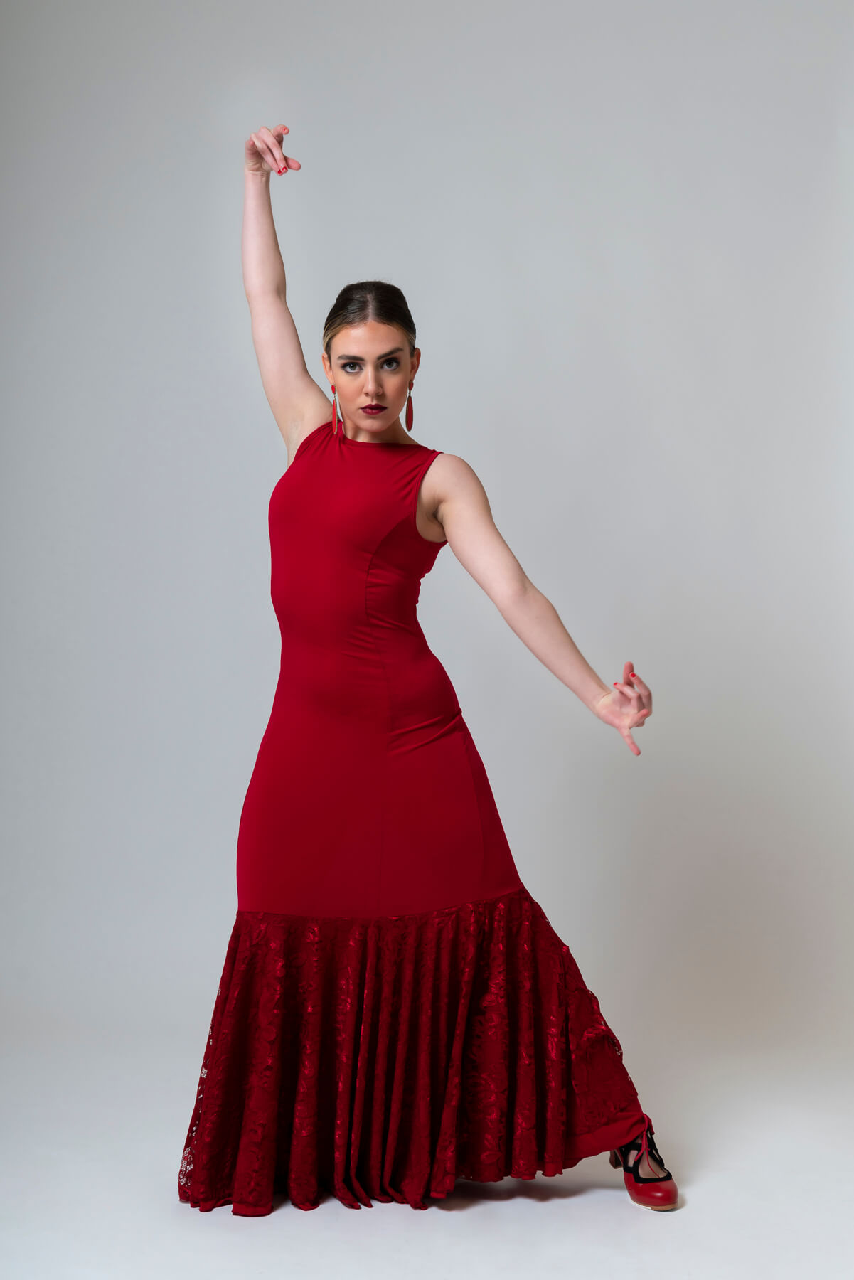 Vestido flamenca rojo encaje 4299